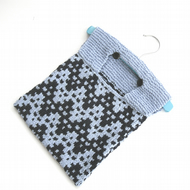 Cotton Peg Bag , hand knitted in navy and light blue chevrons , half price sale