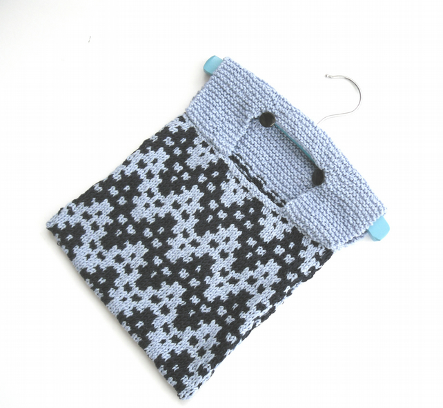 Cotton Peg Bag , hand knitted in navy and light... - Folksy