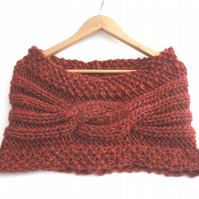 Maroon chunky wool knit stole , red hand knitted cowl