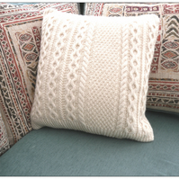 Recycled Aran Wool Cushion Cover with intricate cables