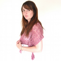 Summer hand knit pink lace shawl in cherry red pink