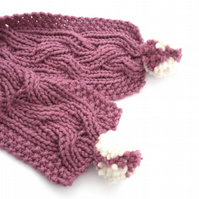 Knitting Pattern for chunky reversible cable scarf