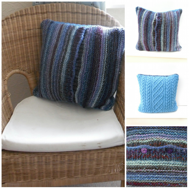 Cushion cover - Striped blue & Cable aran , REDUCED PRICE