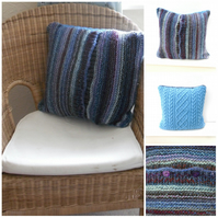 Cushion cover - Striped blue & Cable aran