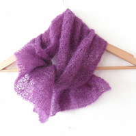 Purple mohair scarf , hand knit lace neck scarf