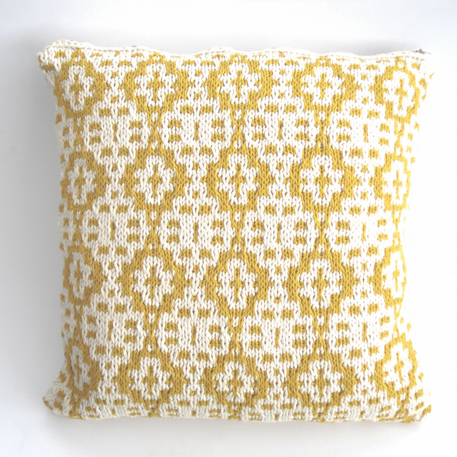 Yellow mosaic cotton cushion cover , the honey pot