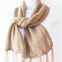 Winter lace scarf , sage green hand knit scarf
