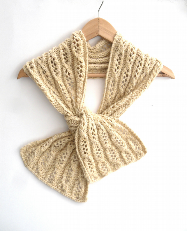 Cream cable lace scarf