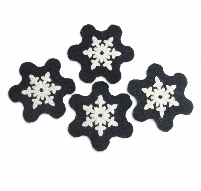 Recycled navy blue snowflake coasters