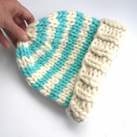 100% wool striped beanie knitted hat