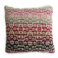 Abstract cotton cushion cover , hand knitted