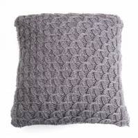 Hand knit Purple Wool Cushion
