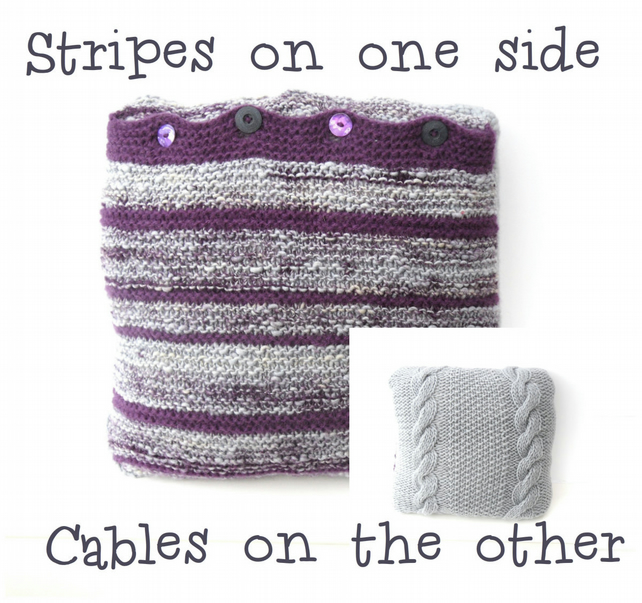 Knitted striped & cabled cushion cover