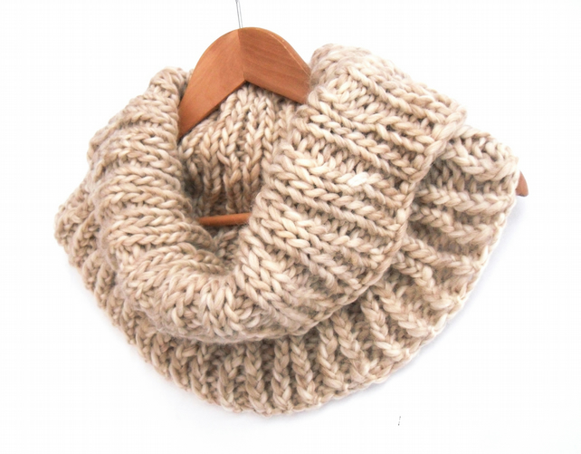 Cream 100% wool cowl or snood