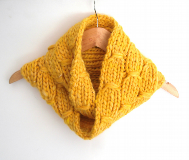 Warm Yellow Cowl Scarf , Chunky thick reversible cowl
