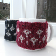 Red or Navy Blue Fair isle Mug cozy