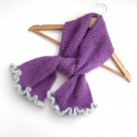 Purple lilac mohair scarf with frilly ends
