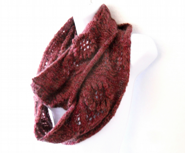 Maroon Infinity Scarf with flower detail , HALF PRICE