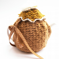 Mustard Tea Pot Cosy , hand knit