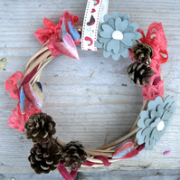 "Autumn Pine Cone wreath , small 6"" across"