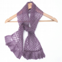 Purple lace kid silk mohair scarf
