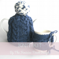 Cable plaited kitchen cosies knit knit, knitted tutorial for tea and mug cosy