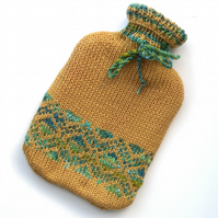 Golden Yellow knitted hot water bottle cover