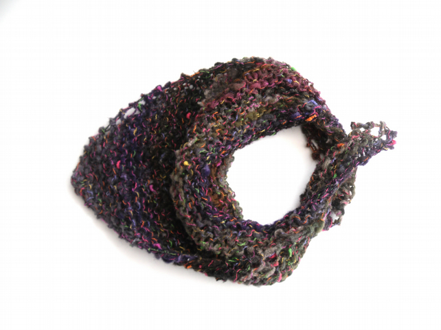 Bandana scarf , Chunky colourful hand knit cowl
