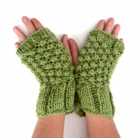 Green alpaca fingerless gloves , hand knitted textual mitts