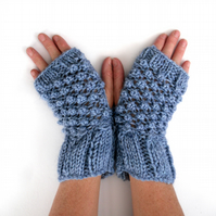 Blue alpaca & acrylic  fingerless gloves , hand knitted textual mitts