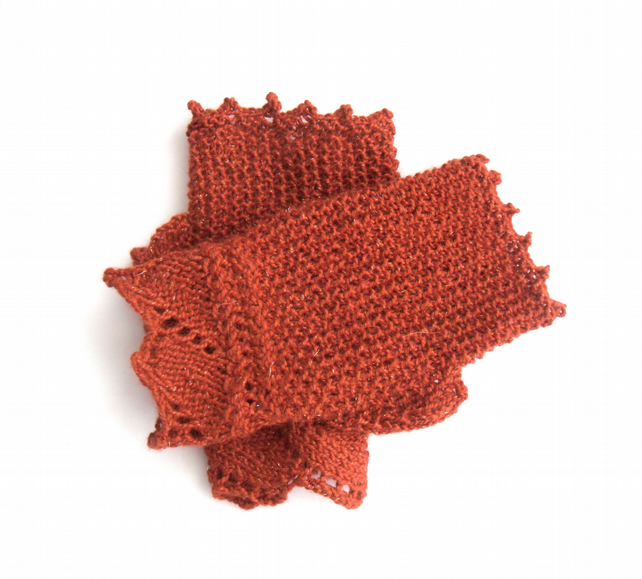 Autumn Russet fingerless gloves with sparkle, ideal for wedding party