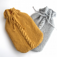 Hand knit cable hot water bottle cover. your colour choice