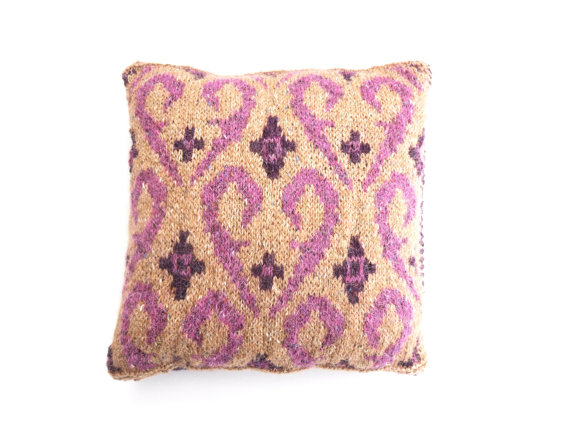 Pink Fair Isle wool cushion