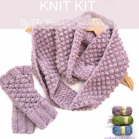 Knit Kit for berry fingerless gloves and  infinity scarf