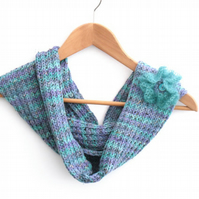 Knitted Blue cowl , chunky winter infinity scarf