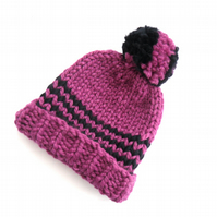 Pink beanie knitted hat