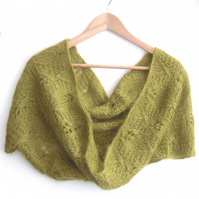 Green Mohair cowl , hand knitted lace scarf