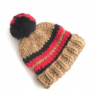 Striped thick chunky knitted hat