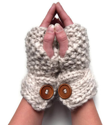 Alpaca fingerless gloves cream