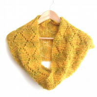 Mohair knitted cowl scarf