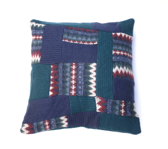 Blue Patchwork cushion