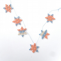Striped Christmas snowflake felt bunting
