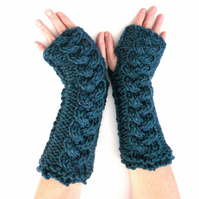 Long Chunky knitted arm warmers, fingerless gloves