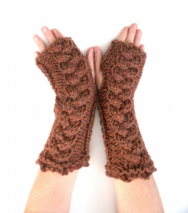 Long Chunky fingerless gloves with cable feature