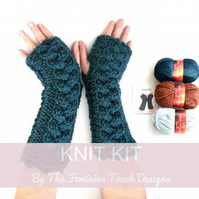 Knitting Kit for Cable Arm Warmers