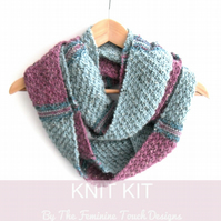 Knitting Kit for Infinity Scarf  - LallyBrock Cowl