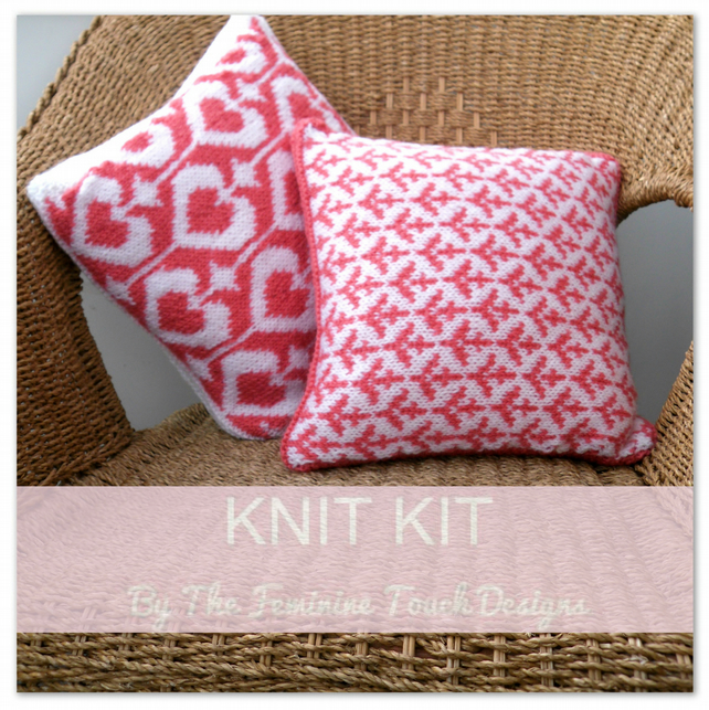 Knitting Kit for valentine cushions