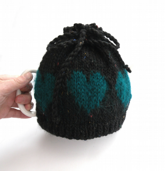 Goth gift -  hand knit heart  tea cosy
