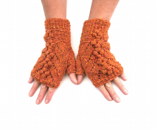 Copper OrangeTweed Lace Fingerless gloves, 100% wool with bobbles