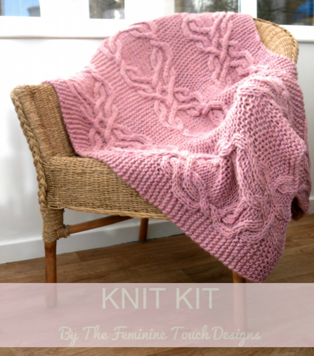 Knitting Kit for cabled lap blanket
